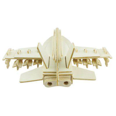 DIY 3D Wooden Puzzle Cool Fighter Plane for Kids Gift 3d wood puzzle diy model kids toy france french style coffee house puzzle assemblage toys for children s gift