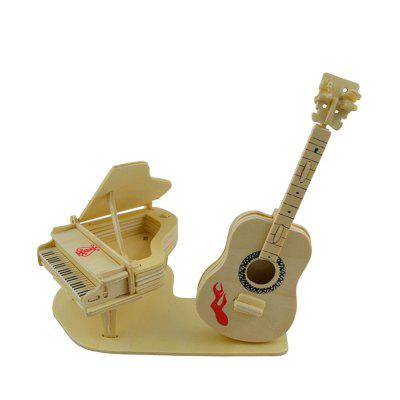 DIY 3D Wooden Puzzle Piano and Guitar for Kids Gift