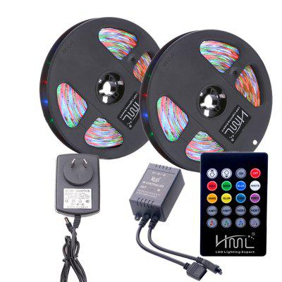 HML 2 x 5M IP65 RGB 2835 300 LED Strip Light + 20 Keys Music Remote + AU Power powge htd 5m timing belt c 290 295 300 305 width 15 20 25mm teeth 58 59 60 61 htd5m synchronous belt 290 5m 295 5m 300 5m 305 5m