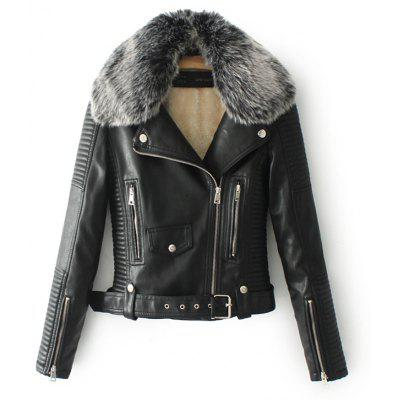 Cool Motorcycle Fur Leather Women Jacket