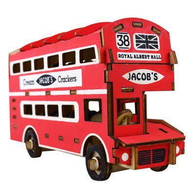 3D Wood Educational Puzzles Children Adults Double Layer Bus