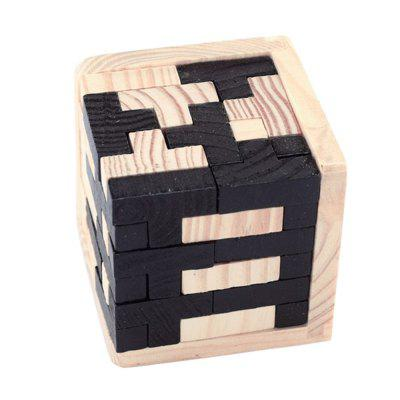 3D Wooden Toy Brain Teaser Geometric T Shape Matching Jigsaw Puzzle 8 triangle wooden block brain teaser puzzle toy brown