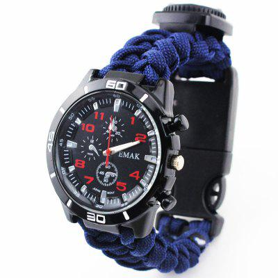 Outdoor Survival Compass Knitting with Multi-function Watch