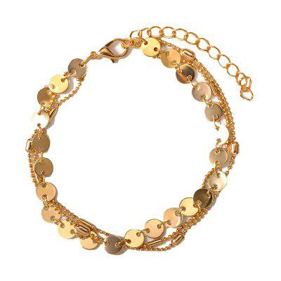 Summer Fashion Beach 3 Layers Sequinned Chain Anklet