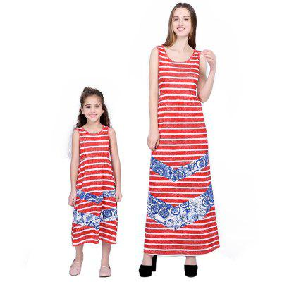 Mother and Daughter Splicing Stripe Vest Parent-child Dress Family Set