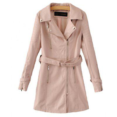 Long Zipper Slim Trench Leather Jacket