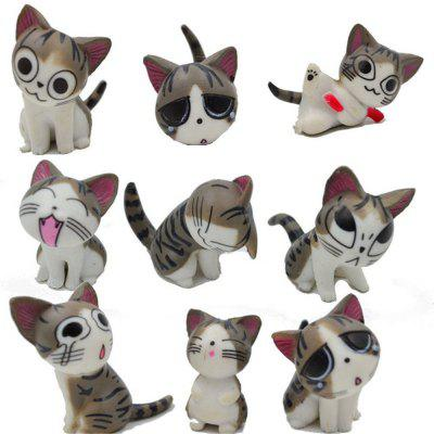 9pcs 3CM Cheese Cat Ornaments Many Expressions Cute Micro Landscape