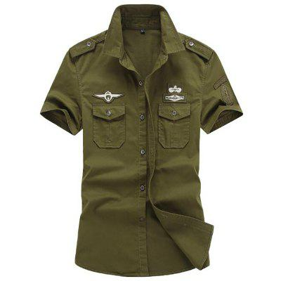 Men Military Pocket Epaulet Short Sleeve Cotton Cargo Shirt