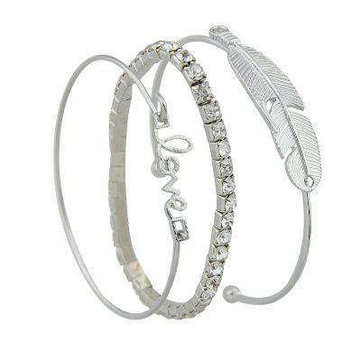 3pcs Silver Color with Rhinestone Feather Bracelet