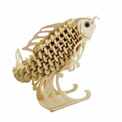 Puzzle di legno 3D Fish Airplane Model Assembling Building Kit IQ Educational