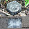 OMTO Solar LED Outdoor Ground Crystal Glass Brick Lawn Garden Decoration Lamp - WARM WHITE