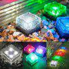 OMTO Solar LED Outdoor Ground Crystal Glass Brick Lawn Garden Decoration Lamp - BLUE