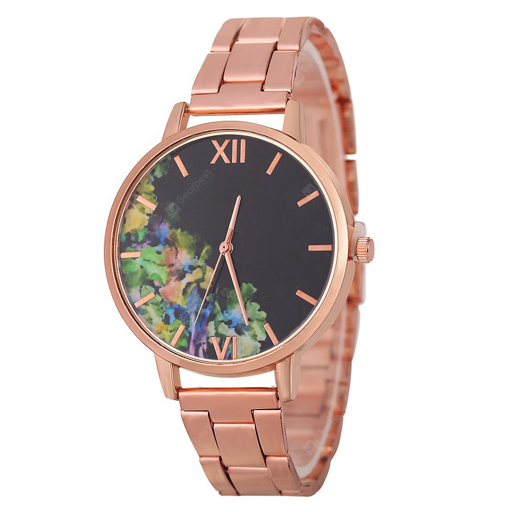 New Fashion Lady Steel Band Business Hand-Painted Green Plant Quartz Watch