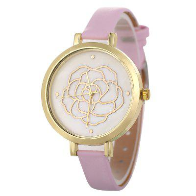 New Fashion Lady Golden Flower Leisure Quartz Wrist Watch
