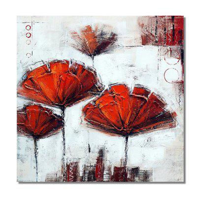 STYLEDECOR Modern Hand Painted Abstract Red Flower Oil Painting on Canvas