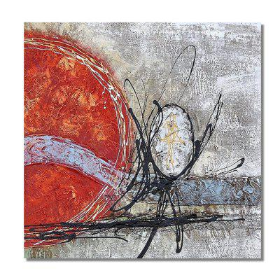 STYLEDECOR Modern Hand Painted Abstract Red Round and Black Line on Canvas