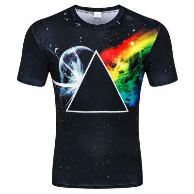 D-50 Men's  Summer Short Sleeve Digital Print 3D Triangle Pattern T-Shirt