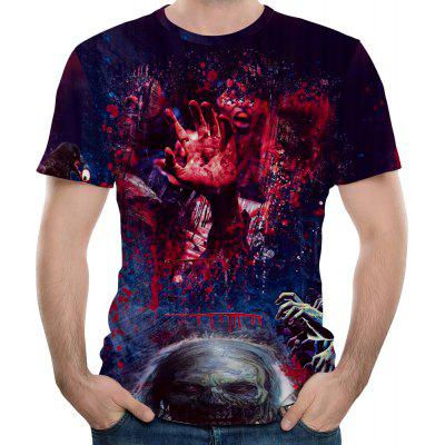 Dark Style Zombie Scary Blood Hand Men's Large Size Summer Short-Sleeved T-Shirt толстовка кенгуру dc doney ph dark indigo
