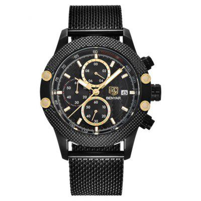 BENYAR Men Sport Fashion Mesh & Rubber Band Waterproof Luxury Brand Quartz Watch