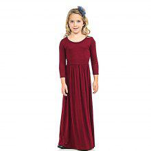 Girls Solid Color Long Dress