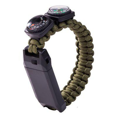 Compass Thermometer Whistle Multifunctional Outdoor Survival Bracelet