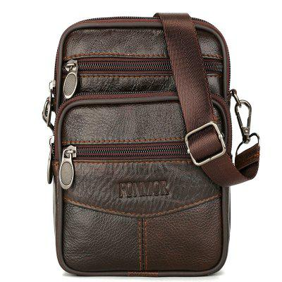 Mini Genuine Leather Messenger Bags For Men Vintage Small Mobile Cell Phone Case