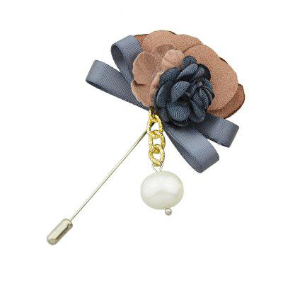 Colorful Suede Fabric Ribbon Flower Brooch