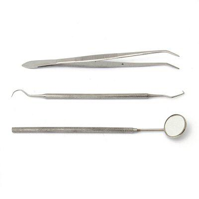 Stainless Steel Dental Cleaning Apparatus Mouth Mirror Probe Pliers Toolkit 3PCS