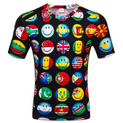 Men's Summer Short Sleeve Digital Print 3D Smiley T-Shirt