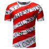 Summer Circular Coll Fangle Short Sleeve Men's Wear Leisure Stripe T-shirt - RED