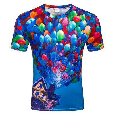 Men's Summer Short Sleeve Digital Print 3D Balloon T-Shirt