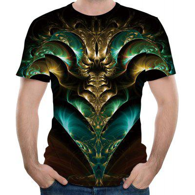 2018 Men Short Sleeve Casual 3D Print T-Shirt