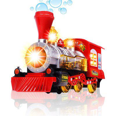 Steam Train Blowing Bubble Machine Music Light Batterie Operated Liquid Kids Toy RED