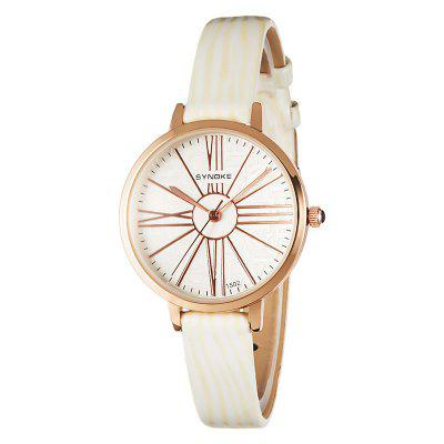 SYNOKE Ladies Fashion Leather Waterproof Quartz Watch