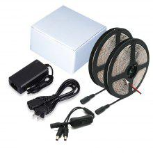 ZDM 2x5m Waterproof 5050 Lamp Strip 12V 6A Power Supply and DC Connection Line