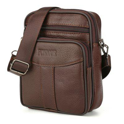 Classic Men Cowhide Leather Messenger Mini Mobile Phone Crossbody Bag