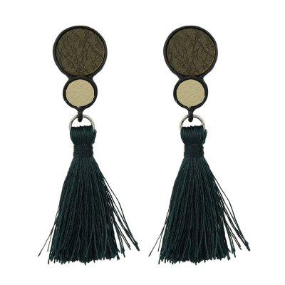 Rock Punk Circular Geometry with Tassels Earrings
