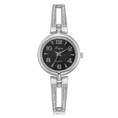 Lvpai P378 Round Dial Diamonds Female Alloy Quartz Watch
