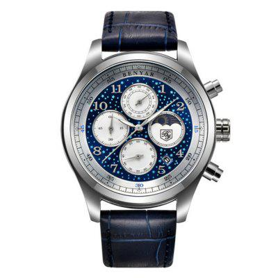 BENYAR Men Business Fase da Lua Aço Inoxidável Chronograph Sport Quartz Watch