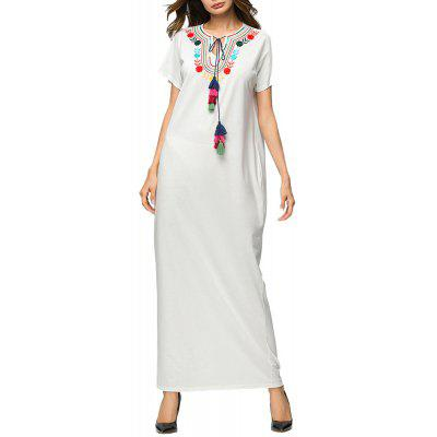 Fashion Simple Flow Embroidery Stitching Robes White Summer Dress