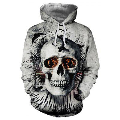 Gearbest 3D Printing New Autumn Winters Person Cranial Head Hooded Fleece - PLATINUM
