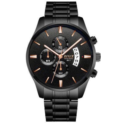 BOSCK Male Stainless Multi-Functional Noctilucent Waterproof Quartz Watch