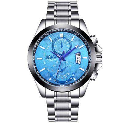 BOSCK Male Sports Noctilucent Waterproof Stainless Steel Quartz Watch