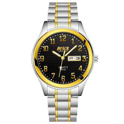 BOSCK Man Stainless Steel Waterproof Luminous Gold Watch