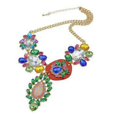 Colorful Rhinestone Pendant Necklace for Women