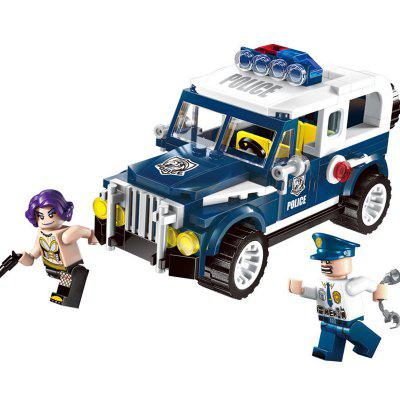 Kid's Blocks Toy Simulated Assembled Police Patrol Wagon Model Construction Play 6pcs police swat power city minifigures mini police jeep car armored truck building blocks policeman wapons toy figure