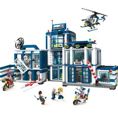 Kid's Blocks Police Station Simulation Intelligent Construction Toy 6pcs police swat power city minifigures mini police jeep car armored truck building blocks policeman wapons toy figure