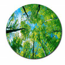 Beautiful Spring Natural Scene Green Tree Round Mouse Pad