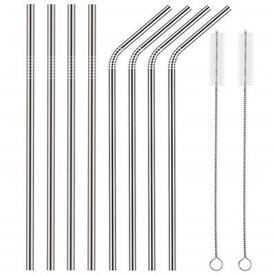 Stainless Steel Straws Set Multi-colored Reusable Cleaning Brush 8PCS