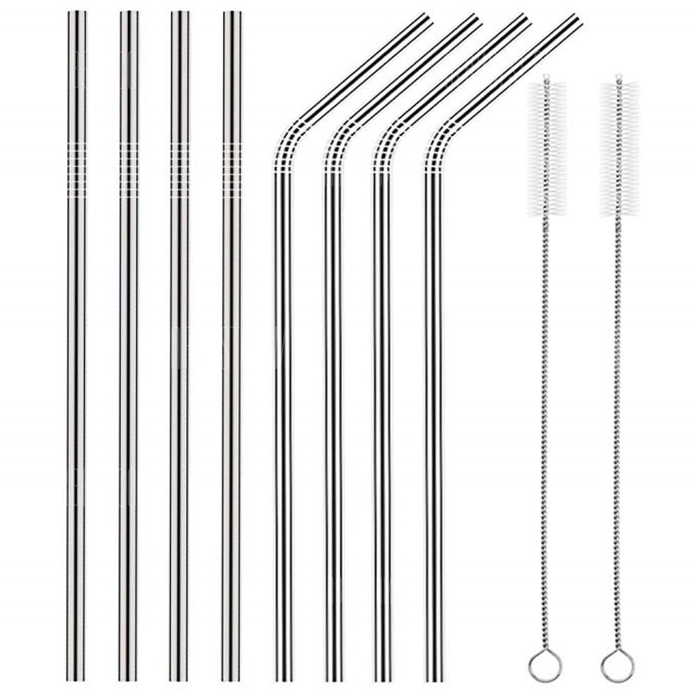 Stainless Steel Straws Set Multi-colored Reusable Cleaning Brush 8PCS - SILVER
